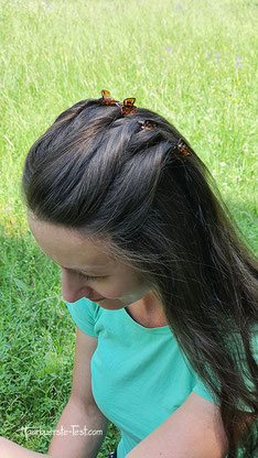 frisur mit mini haarklammern