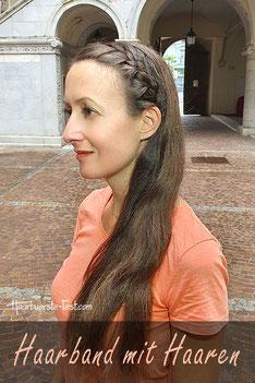 Haarband mit Haaren geflochten