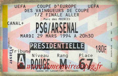 Ticket  PSG-Arsenal  1993-94
