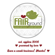 Logo vom Ladengeschäft FAiRground in Landshut, est. 2006, powered by love, Save a small business! Fairtrade