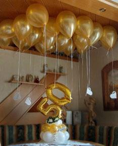 Luftballon Ballon Silberhochzeit Goldhochzeit silberne goldene Hochzeit Dekoration Geschenk Geldgeschenk