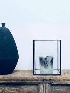 potiche, potiche noire, cube en verre deco, bougeoir plume, bougie plume, scandinave decor