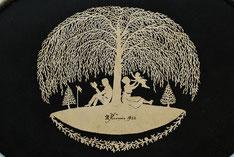 """Scherenschnitt """"Trauerweide"""" von Rudolf Kunis (1922)"""