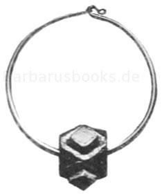 Ohrring, 6,3 cm; Fundort Wiesoppenheim, Rheinhessen. Museum Worms. Silber, vergoldet mit Almandinen besetzt.
