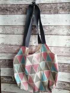 Shopper Einkaufstasche Tragetasche Tasche Beutel Dreiecke handgemacht Handarbeit handmade SaSch Selbstgefertigtes aus Schwaben