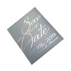 Bild Beispiel Grafik-Design und Print Postkarte Hochzeit Save-our-Date-Karte.