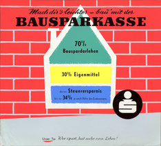 Bausparkassen Werbung der Sparkasse um 1957. Plakat von Heinz Traimer.