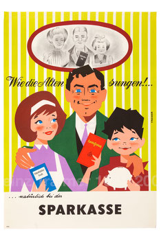Familie mit Sparkassenbuch. Sparkassenwerbung der 1960er Jahre. Plakat von Heinz Traimer.