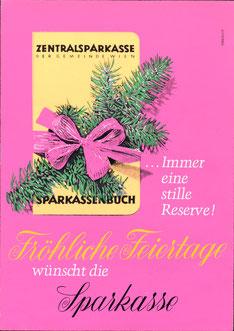 Sparbuch Sparkassenbuch ... immer eine stille Reserve. Weihnachts-Plakat. Werbung der Zentralsparkasse 1966.