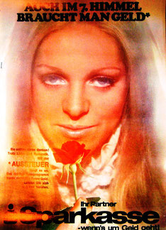 Aussteuer. Auch im 7. Himmel braucht man Geld. Plakat 1970.