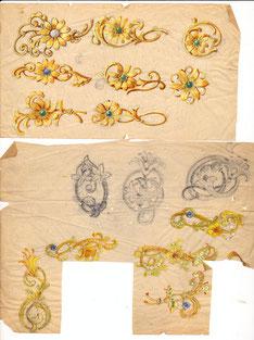 Schmuck-Entwurfszeichnung: Brosche. Pforzheimer Schmuckindustrie 1930er und 1940er Jahre)