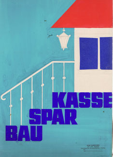Bausparkasse (Treppe und Haus) (Plakat-Entwurf Din A4 um 1960).
