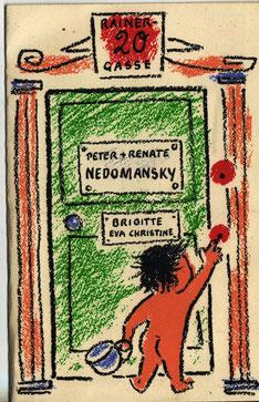 Karte zur Geburt von Brigitte Hala (Nedomansky) Wien - 1957.
