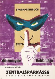 Sparkassenbuch die anonyme Geldanlage. Zentralsparkasse Österreich Plakat 1961