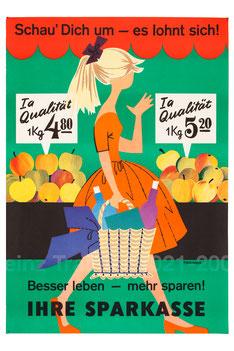 Poster - Junge Frau beim Einkauf. Preisvergleich 1960er Jahre.