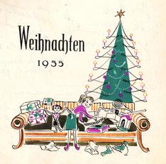 Weihnachten 1955. Zeichnung: Kind mit Weihnachtsgeschenken. Kuenstler: Heinz Traimer Wien.