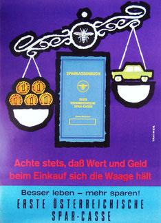 Erste Österreichische Spar Casse Werbung von 1962. Plakat. Sparen im  Haushalt.