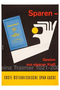 Sparkassenbuch - Erste Österreichische Spar-Casse. Plakat 1961.