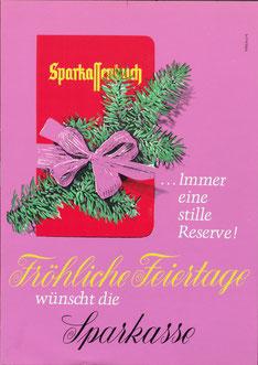 Weihnachtswerbung der Sparkasse für Sparkassenbuch. Poster 1966.