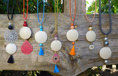Halskette, Straußeischale, Straußeneikette, selbstgemachte Halskette, Schmuck