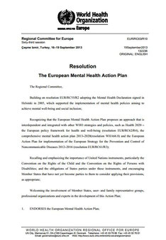 The European Mental Health Action Plan. Resolution EUR-RC63-R10.