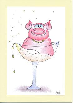 lustige Geburtstagskarte Schwein Prosecco