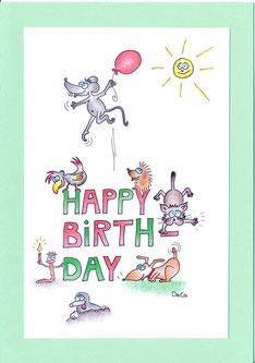 lustige Geburtstagskarte Maus Katze Hund