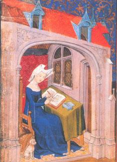 Christine de Pizan écrivant dans sa chambre, 1407. Source : Domaine public, Wikipedia.