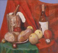 パンとボトルと果物 (油彩・F10 )