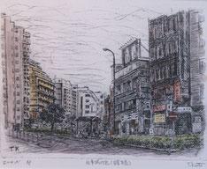地元を描く(防衛庁を望む)      (銅版画・P10)