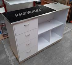 Mostrador con cajones y cubierta de aluminio