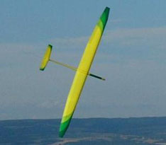 planeur radiocommandé Alliaj Aeromod jaune et vert, en vol