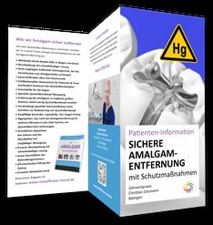 """Flyer """"Sichere Amalgam-Entfernung mit Schutzmaßnahmen gegen Quecksilber"""" von Zahnarzt Christian Zotzmann in Balingen"""