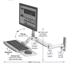 ウォールマウント 壁面固定 昇降式 ディスプレイキーボード用アーム:ASUL180EV7-W3-KUP-A1