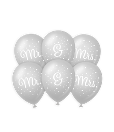 Wedding balloons Mr&Mrs €2,50 6stuks