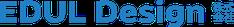 教育ツールを意味する造語の「EDUL」と「Design」を組み合わせ、教育ツールデザイン事務所を意味する社名とした。