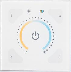 Digitaal bedieningspaneel dat zowel het wijzigen van de kleurtemperatuur als het dimmen van de kunstverlichting toelaat