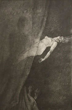 """Illustration de Félicien Rops pour """"Le rideau cramoisi"""", nouvelle des """"Diaboliques"""" de Jules Barbey d'Aurevilly."""