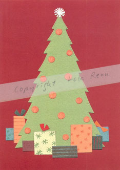 Postkarte Weihnachtsbaum, Lola Renn