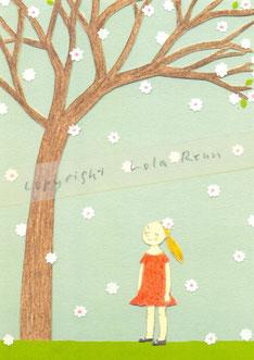 Postkarte Kirschblüte, Lola Renn