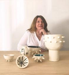 Sandrine Auric, céramique, sud de la France, ceramiste du sud, ceramique noir et blanche, vallauris, picasso, bol oursin