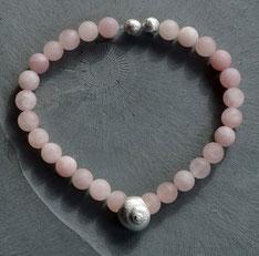 Edelsteinkette rosa mit Schneckenhaus Silber