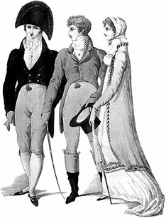 Regency Era print Two Gentlemen and a Lady (flickr, picture by Adair733)
