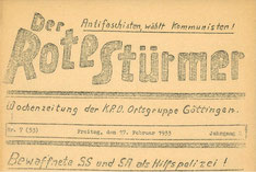 Kopf des Roten Stürmers, 17.2.1933.  Foto: StA Göttingen