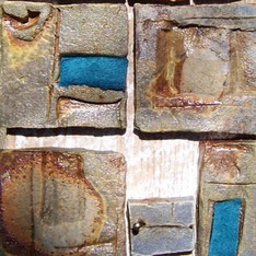 Detail of Rhythm Panel...Woodfired stoneware tiles, suede, barn wood & brass nail. TILE FESTIVAL: May 16 & 17 (Sat & Sun), Moravian Pottery & Tile Works, Doylestown, PA.y