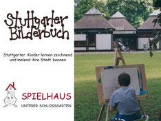 Kind malt Spielhaus auf einer Staffelei