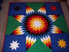 Starquilt: 2x2m große Sternendecke aus Baumwollstoff, Patchwork- oder auch Quiltarbeit genannt