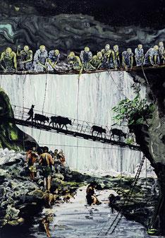 Wolf Hamm: Ob wir wollen oder wissen - der Zeittunnel, 2014, Acryl hinter Acrylglas, 65 x 45 cm, Dauerleihgabe, Förderkreis KMA e.V.