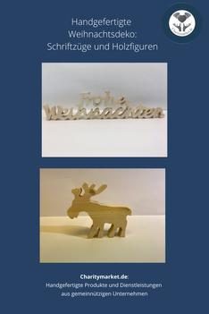 Charitymarket - Weihnachtsdekoration Schriftzüge und Holzfiguren