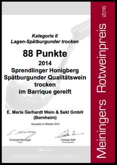Urkunde Meiningers Rotweinpreis 2016 - 88 Punkte